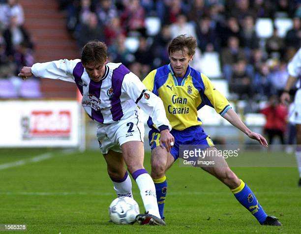 Heinze of Valladolid and Jaime Molina of Las Palmas during the match between Oviedo v Villareal in the Primera Liga played at the Jose Zorrilla...