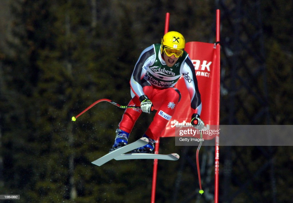 Hermann Maier of Austria in action during the mens downhill event at the World Championships in St Anton Austria Maier finished in 2nd place...