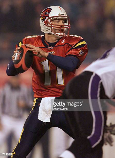 Jeff Brohm of the Orlando Rage looks to throw the ball against the Chicago Enforcers during XFL opening night at the Citrus Bowl in Orlando Florida...