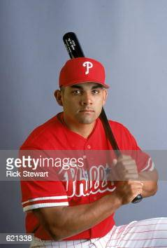 Johnny Estrada of the Philadelphia Phillies poses for a studio portrait during Spring Training at the Jack Russell Stadium in Clearwater...