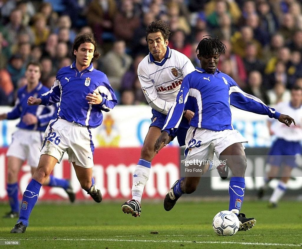 Keita of Real Oviedo and Esnaider of Real Zaragoza in action during the Primera Liga game between Real Zaragoza and Real Oviedo La Romareda Zaragoza...