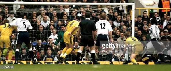 Ledley King scores for Spurs during the AXA sponsored FA Cup Fifth Round match between Tottenham Hotspur v Stockport County at White Hart Lane London...