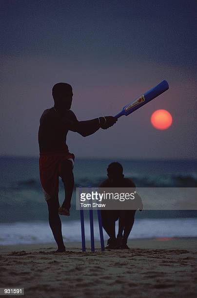 Locals play cricket on the beach during the England tour to Sri Lanka Mandatory Credit Tom Shaw/Allsport