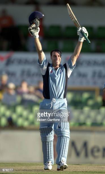 Michael Bevan for the NSW Blues celebrates victory after scoring 135 and the winning run to give NSW victory during the Mercantile Mutual Cup One Day...