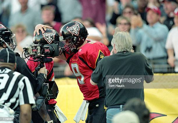 Mike Pawlawski of the San Francisco Demons celebrates on the field as the steady cam films his move during the game against the Los Angeles Extreme...