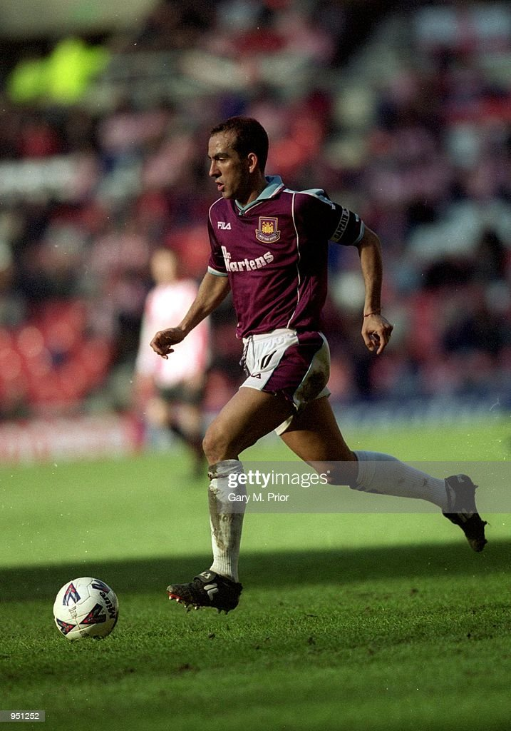 Paolo Di Canio of West Ham runs with the ball during the AXA sponsored FA Cup fifth round match against Sunderland played at the Stadium of Light in...