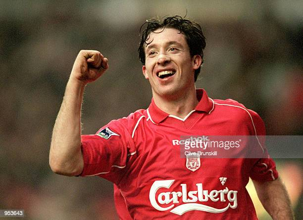 Robbie Fowler of Liverpool celebrates a goal during the FA Carling Premiership game against West Ham at Anfield in Liverpool England Liverpool won...