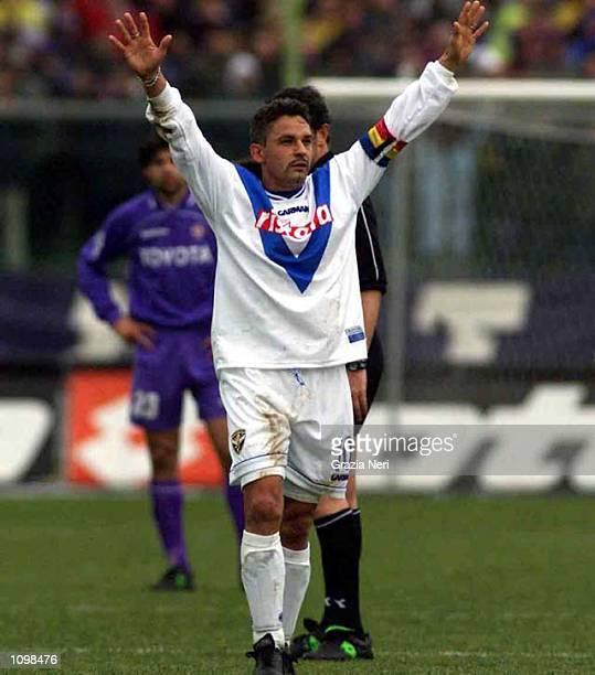 Roberto Baggio of Brescia celebrates scoring a goal during a Serie A 20th Round League match between Fiorentina and Brescia played at the Artmio...