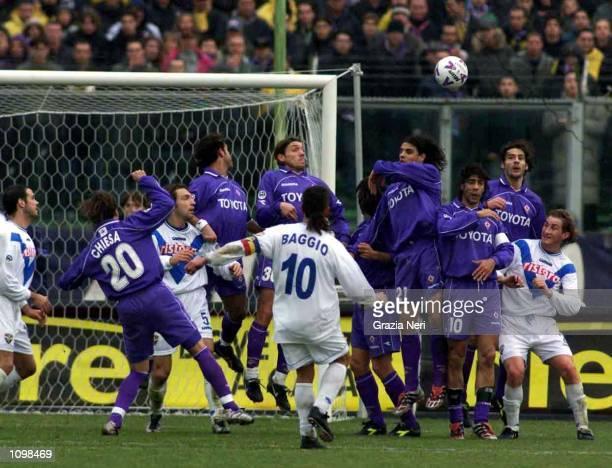 Roberto Baggio of Brescia scores a goal during a Serie A 20th Round League match between Fiorentina and Brescia played at the Artmio Franchi stadium...