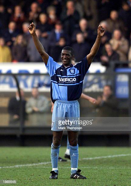 Steve Brown of Wycombe Wanderers celebrates after the AXA FA Cup match between Wycombe Wanderers and Wimbledon at Adams Park High Wycombe Mandatory...
