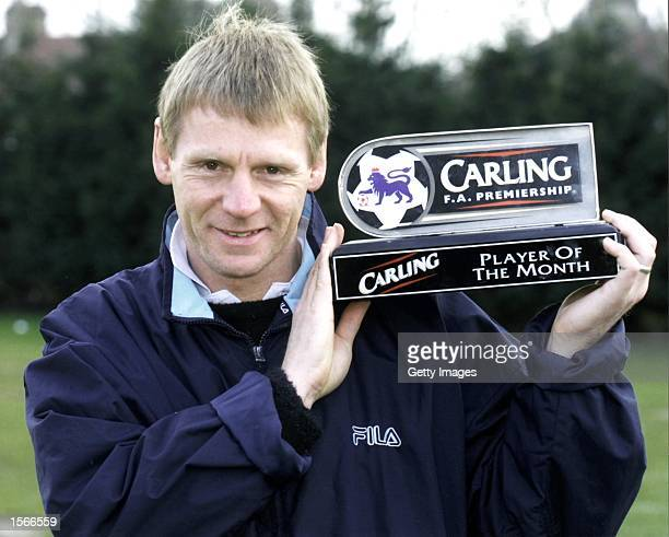 Stuart Pearce of West Ham picks up his FA Carling Player of the Month award for february during a West Ham training session held in London Mandatory...