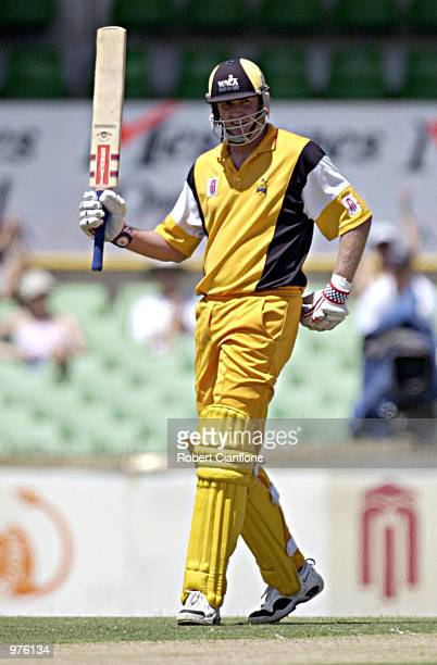 Tom Moody of the Western Warriors celebrates his fifty runs during the Mercantile Mutual Cup One Day final between the Western Warriors and the NSW...