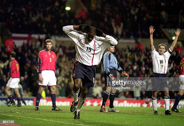 Ugo Ehiogu celebrates his goal for England during the International Friendly against Spain played at Villa Park in Birmingham England England won the...