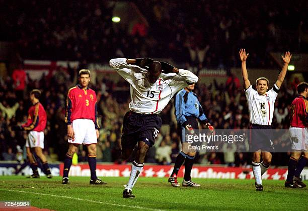 Ugo Ehiogu celebrates scoring England's third goal during the International Friendly match against Spain played at Villa Park in Birmingham England...