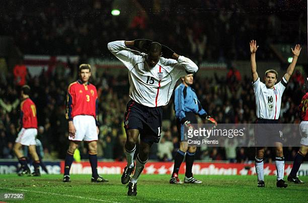 Ugo Ehiogu of England celebrates ater scoring the third goal for England during the England v Spain International Friendly match at Villa Park...