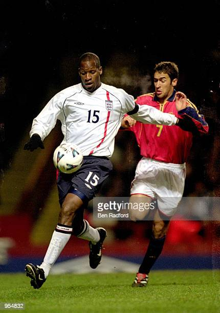 Ugo Ehiogu of England holds off Raul of Spain during the International Friendly played at Villa Park in Birmingham England England won the match with...