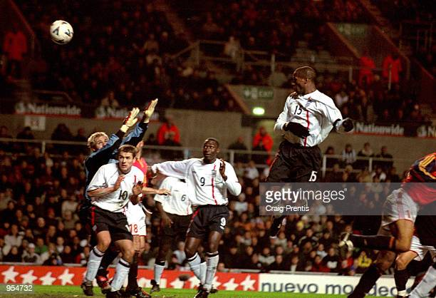 Ugo Ehiogu of England scores the third goal during the International Friendly match against Spain played at Villa Park in Birmingham England England...