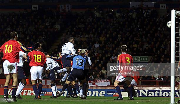 Ugo Ehiogu rises to head home the third goal for England during the England v Spain International Friendly match at Villa Park Birmingham DIGITAL...