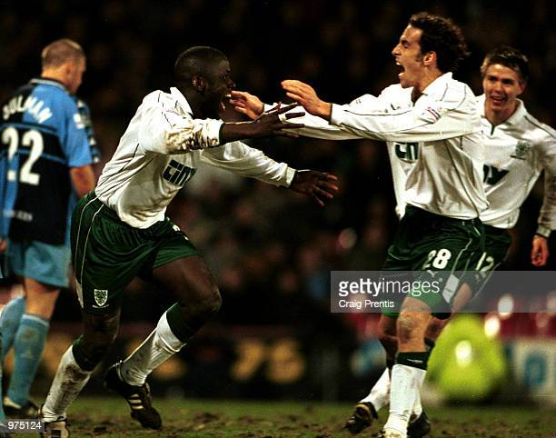 Wayne Gray of Wimbledon celebrates scoring in the extra time during the AXA sponsored FA Cup fifth round replay match between Wimbledon and Wycombe...