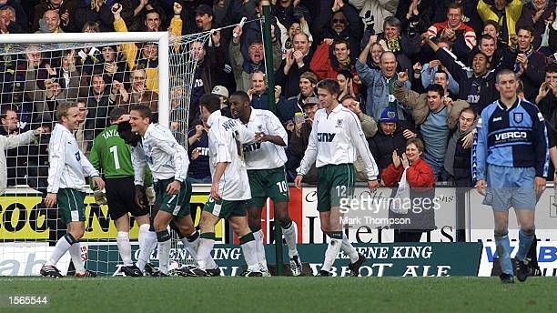 Wimbledon players celebrates scoring the 2nd goal during the AXA FA Cup match between Wycombe Wanderers and Wimbledon at Adams Park High Wycombe...