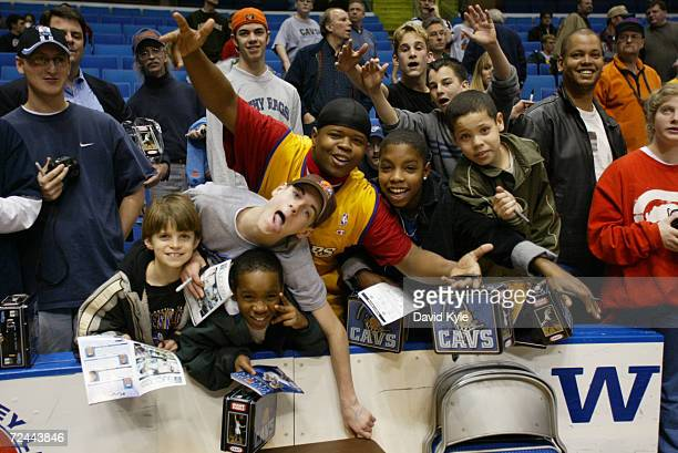 A few Cleveland Cavalier fans try to get a autograph from Andre Miller of the Cleveland Cavaliers before the game against the Los Angeles Lakers...