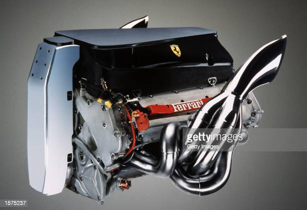 A general view of the Ferrari F2002 car engine for the 2002 Formula One Grand Prix season during the Official Ferrari Launch held in Maranello Italy...