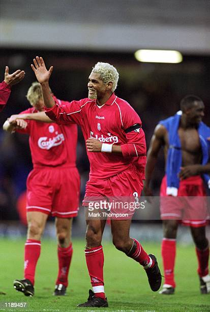 Abel Xavier of Liverpool celebrates victory at the final whistle of the FA Barclaycard Premiership match against Ipswich Town played at Portman Road...
