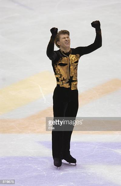 Alexei Yagudin of Russia celebrates after his routine in the men's free program during the Salt Lake City Winter Olympic Games at the Salt Lake Ice...