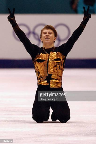 Alexei Yagudin of Russia finishes his gold medal free program during the Salt Lake City Winter Olympic Games at the Salt Lake Ice Center in Salt Lake...
