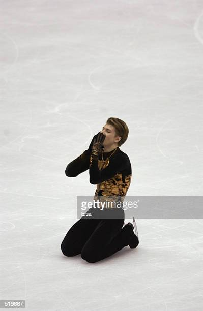 Alexei Yagudin of Russia finishes his routine in the men's free program during the Salt Lake City Winter Olympic Games at the Salt Lake Ice Center in...