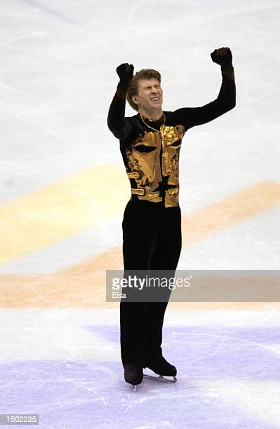 Alexei Yagudin of the Russia celebrates after his routine in the men's free program during the Salt Lake City Winter Olympic Games at the Salt Lake...