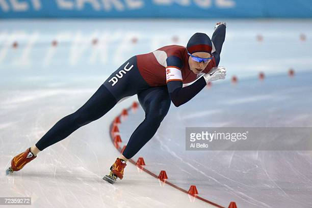 Becky Sundstrom of the USA competes in the women's 1000m speed skating event during the Salt Lake City Winter Olympic Games at the Utah Olympic Oval...