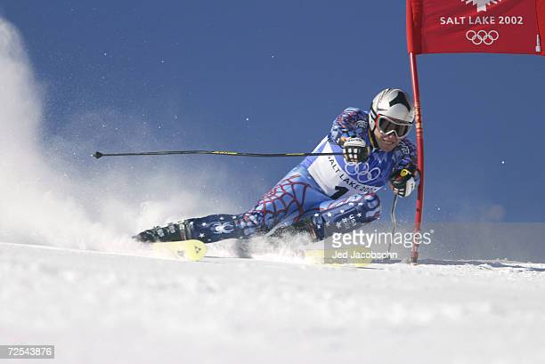 Bode Miller of the USA competes in the Men's Giant Slalom at the Park City Mountain Resort during the Salt Lake City Winter Olympic Games in Park...
