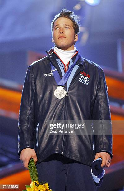 Bode Miller of USA receives his silver medal in the men's combined at the medal awards ceremony at the Olympic Medals Plaza during the Salt Lake City...