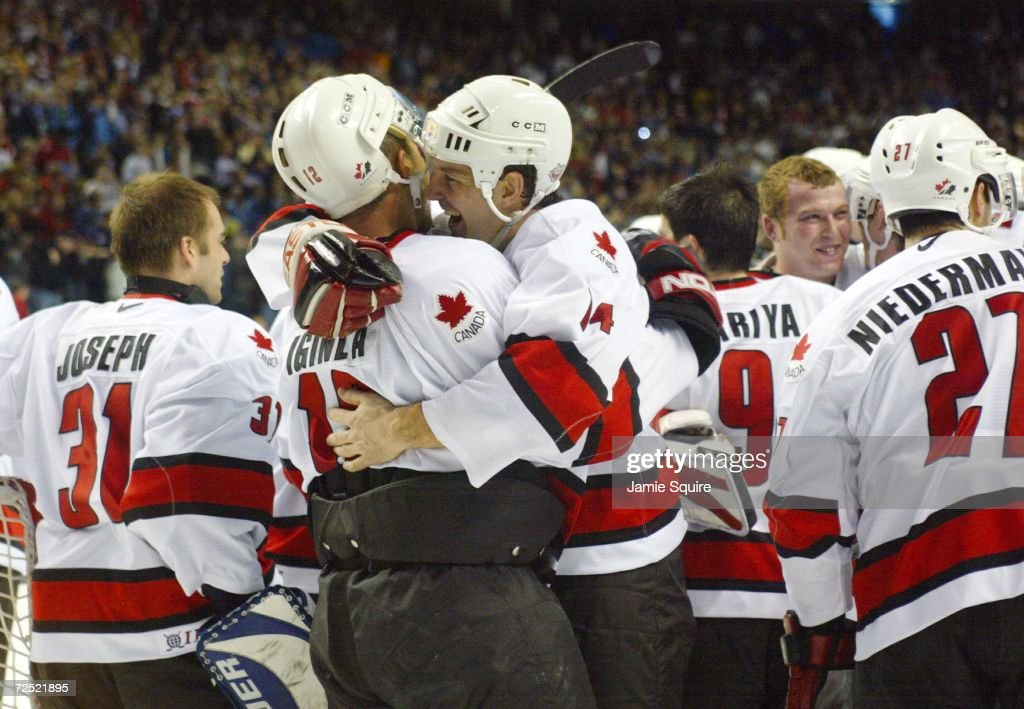 ... Hockey Jersey Brendan Shanahan 14 of Canada celebrates with teammate  Jarome Iginla 12 after defeating the BRENDAN SHANAHAN Detroit Red Wings ... 90519151b
