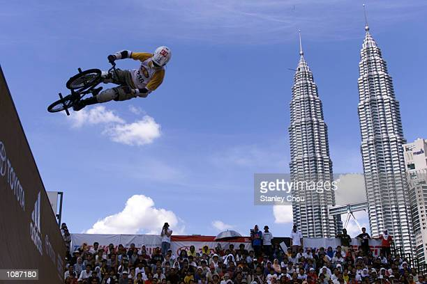 Cheng Pang Chung of Chinese Taipei in action during the Bicycle Stunt Vert U finals at the 2002 Asian XGames and Junior XGames Qualifier held at KLCC...