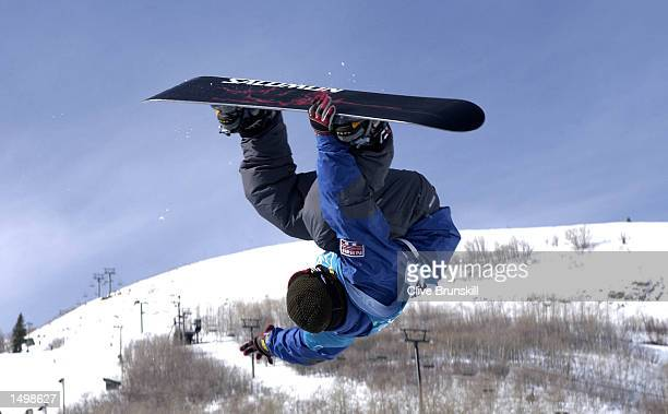 Daniel Franck of Norway competes in the qualifying round of the men's halfpipe snowboarding event during the Salt Lake City Winter Olympic Games at...