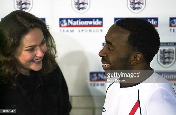 Darius Vassell of England chats to SKY television Claire Tomlinson after the International Friendly match against Holland played at the Amsterdam...
