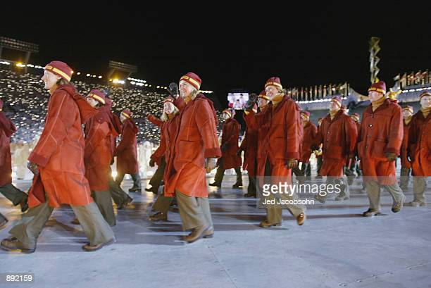 Delegates from Australia enter the stadium at the Opening Ceremony of the Salt Lake City Winter Olympic Games at the RiceEccles Olympic Stadium in...