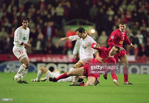 Dietmar Hamann of Liverpool dominates the midfield as he wins another challenge during the UEFA Champions League Second Stage Group B match against...