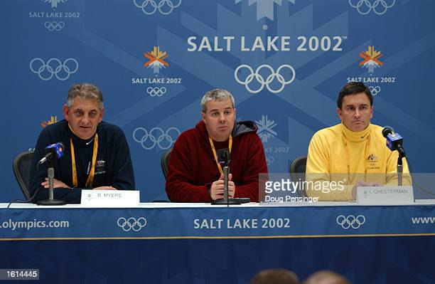 Director of Security Bob Meyers Director of Media Relations Mike Tancred and Ian Chesterman field questions from the media during the Australian...