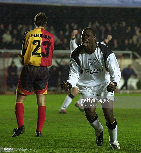 Emile Heskey of Liverpool celebrates after he scores the equalising goal during the UEFA Champions League Second Stage Group B match between...