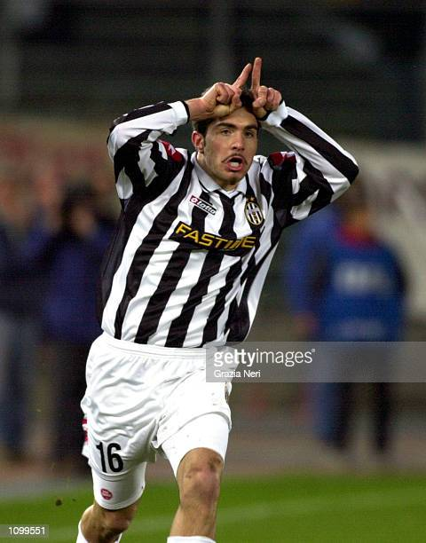 Enzo Maresca of Juventus celebrates scoring the equaliser during the Serie A match between Torino and Juventus played at the Delle Alpi Stadium Turin...