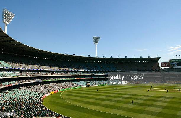 General View of play with near empty stands during the first final of the VB Series played between New Zealand and South Africa at the Melbourne...