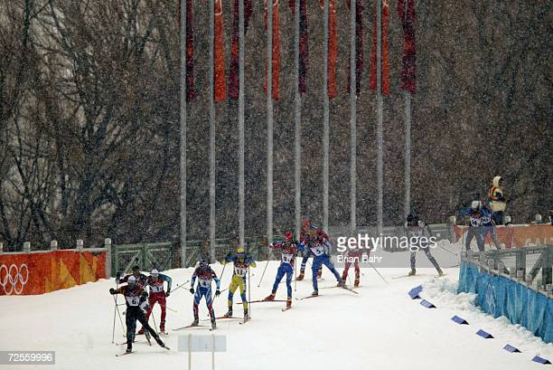 General view of the action from the Men's 4x75km Biathlon Relay at Soldier Hollow in Heber City during the Salt Lake City Winter Olympic Games in...