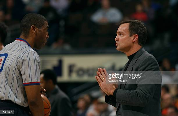 Head coach Lon Kruger of the Atlanta Hawks pleads with an official during the NBA game against the Denver Nuggets at Pepsi Center in Denver Colorado...