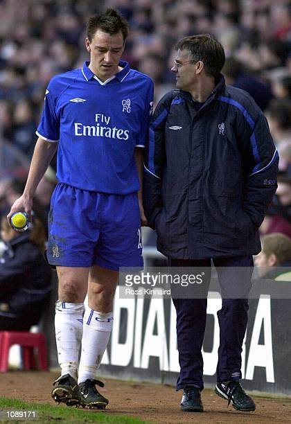 John Terry of Chelsea leaves the field with an injury during the Aston Villa v Chelsea FA Barclaycard Premiership at Villa Park Birmingham DIGITAL...