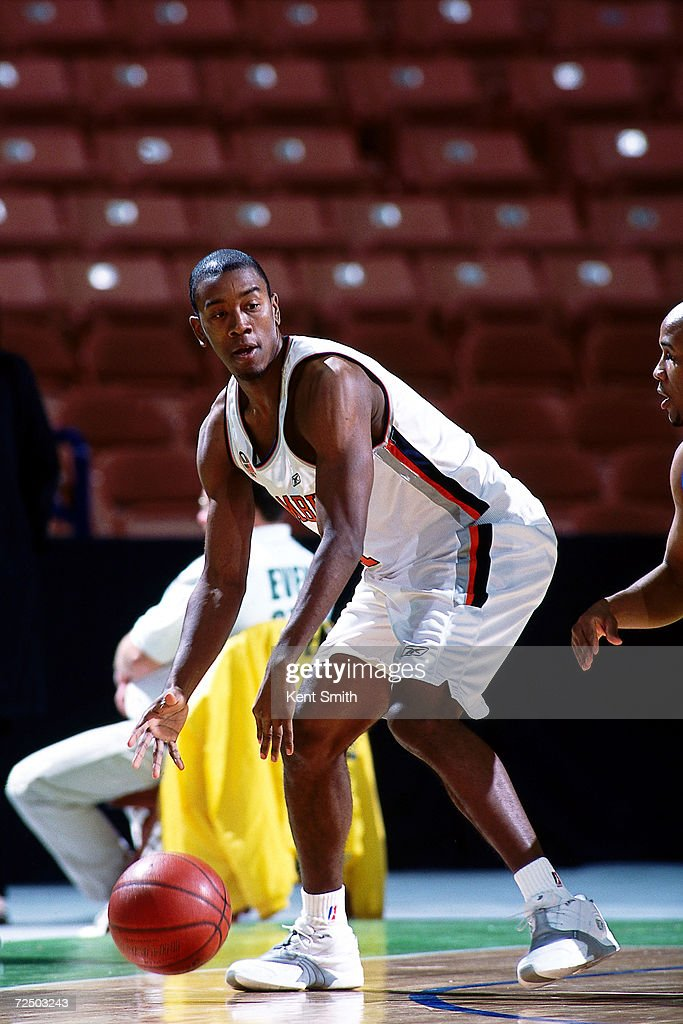 Kareem Poole of the Columbus Riveredragons looks to make a play against the Greenville Groove during the NBDL Game at the BiLo Center in Greenville...