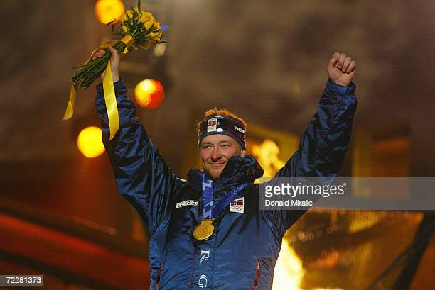 Kjetil Andre Aamodt of Norway celebrates his gold medal in the men's SuperG at the medal awards ceremony in the Olympic Medals Plaza during the Salt...