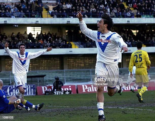 Luca Toni of Brescia celebrates scoring during the Serie A match between Chievo and Brescia played at the Bentegodi Stadium Verona DIGITAL IMAGE...
